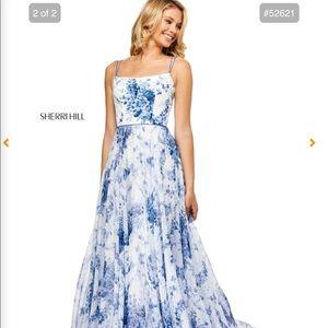 Sherri Hill Long Prom Dress Blue Floral
